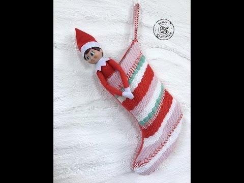 Prima DT Fiber arts loom woven sweet peppermint stocking