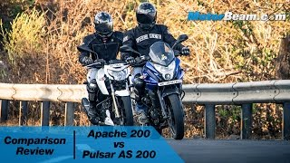 tvs apache 200 vs pulsar as 200 comparison review   motorbeam