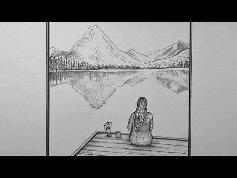 Manzara İzleyen Kız Nasıl Çizilir - Karakalem Manzara Resmi Çizimi