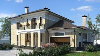 Проект дома в классическом стиле из кирпича. Дом с сауной, бассейном и гаражом Ремстройсервис KR-375