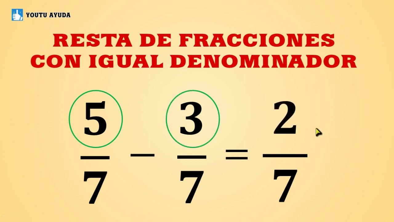Resta de fracciones con igual denominador - fracciones homogéneas