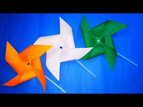 DIY TRICOLOR WINDMILL|| How to Make Paper Spinning WindMill || Paper PinWheel Craft for Kids