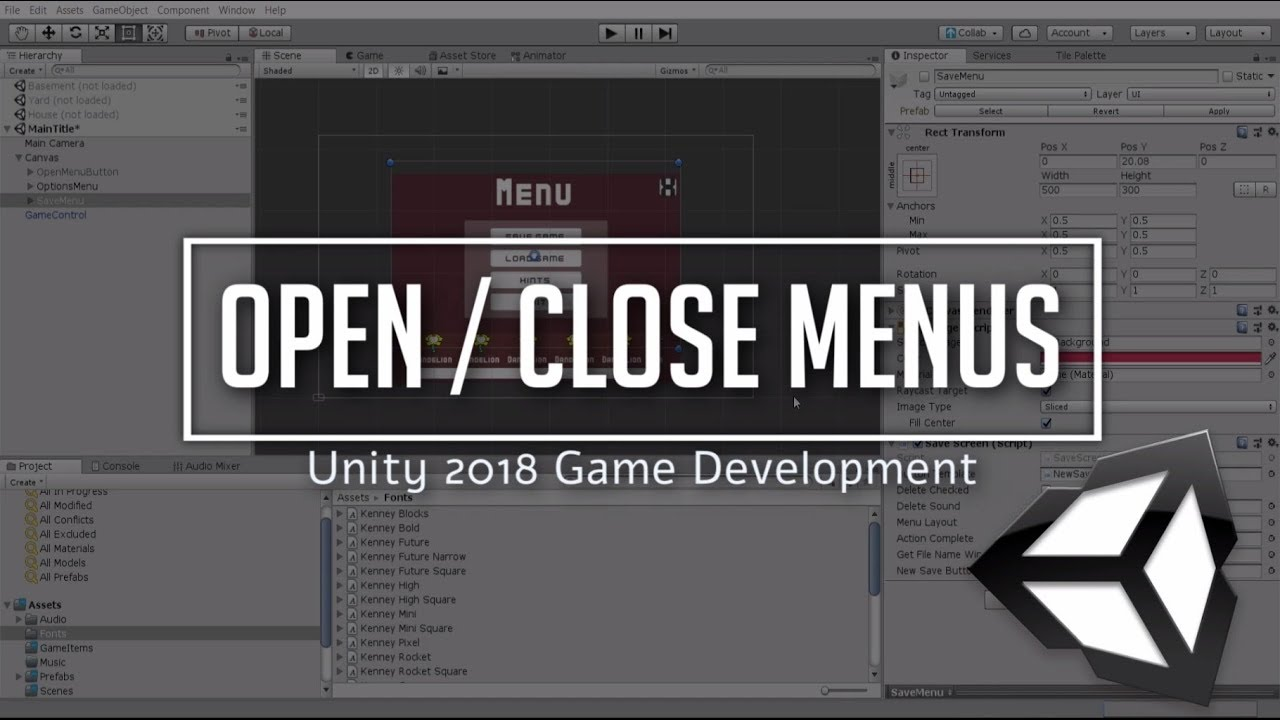 Open and Close Menus with Buttons or Escape Key | Unity 2018 Game  Development