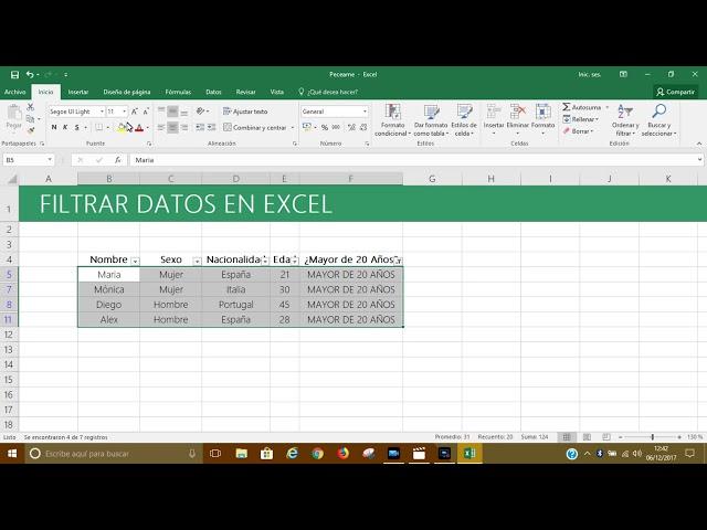 Filtrar Datos en Excel 2016