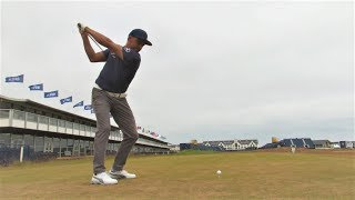 Rickie Fowler plays a practice round at Carnoustie