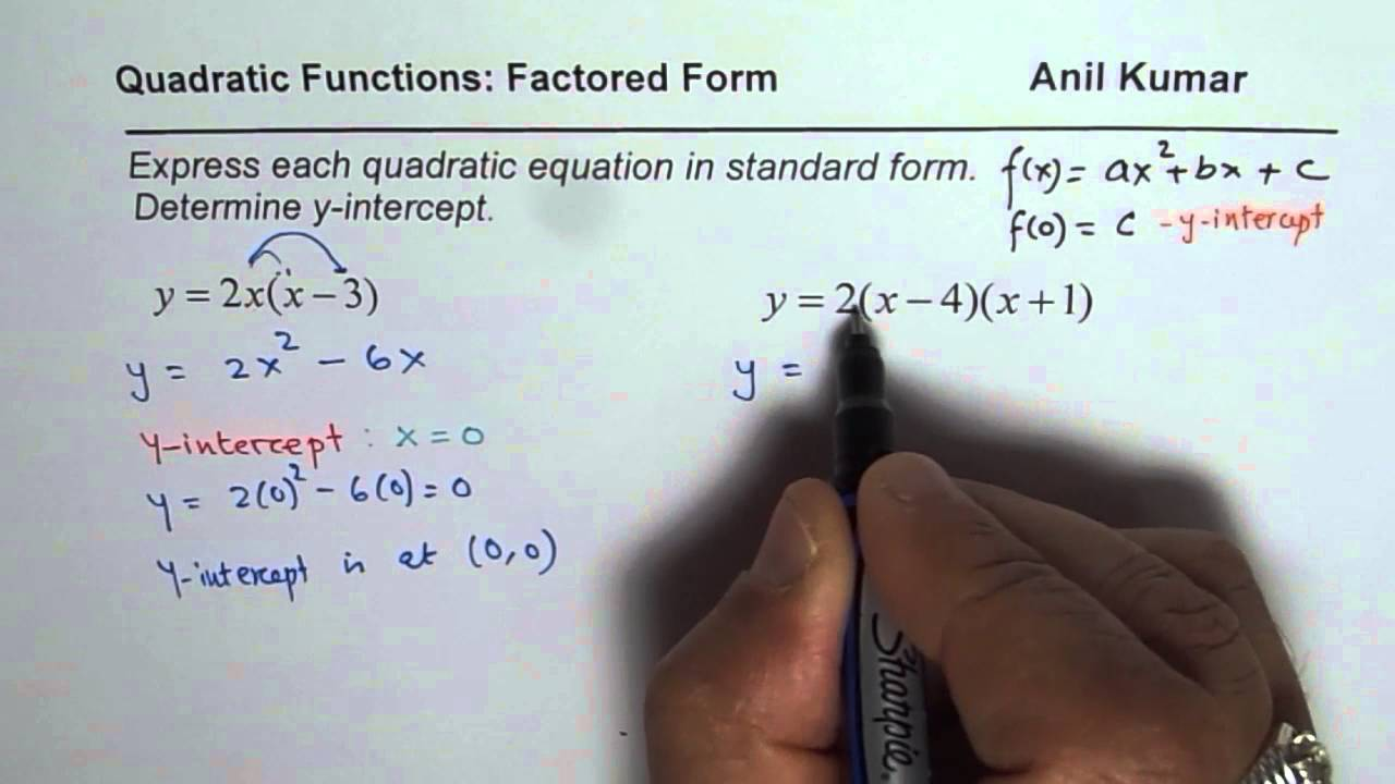 write quadratic function in standard form The vertex form of a quadratic function is given by f (x) = a(x - h)2 + k, where (h, k) is the vertex of the parabola when written in vertex form: • (h, k) is the vertex of the parabola, and x = h is the axis of symmetry • the h represents a horizontal shift (how far left, or right, the graph has shifted from x = 0.