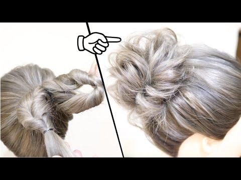 【-初心者の方必見!】5分でできる!くるりんぱ2つ!簡単に可愛くなるお団子のヘアアレンジ!how-to:easy-messy-bun|-bun-hairstyle-|-updo-hairstyle