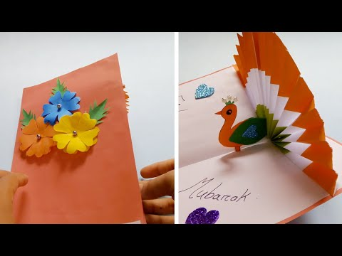 DIY - How To Make Peacock Pop up Card-Paper Crafts-Handmade Craft- Eid/Birthday Day card!