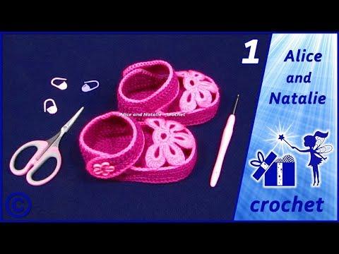 """Пинетки крючком """"Лялины туфельки"""". Часть 1. Alice And Natalie - Crochet"""