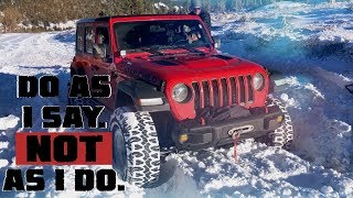 Do As I Say, NOT As I Do. Snow Wheeling Gone Wrong in our Jeep Wrangler JLU Rubicon!