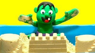 Baby Hulk Stop Motion Superhero Muscular body the sand Play Doh Cartoon video