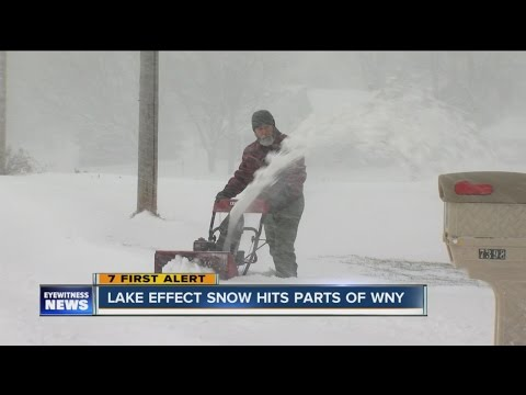 Lake effect snow buries some areas and leaves others with sun