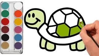 رسم وتلوين السلحفاة للاطفال/ لعب ومرح للاطفال/ drawing & coloring for kids