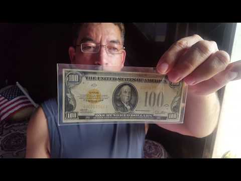 US 1928 Gold certificates collection 100, 50, 20 y 10 dollars bills