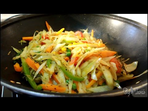 Vegan Stir Fry Cabbage And Vegetarian Dish For Sunday Dinner | Recipes By Chef Ricardo