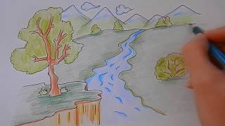 Как ПРОСТО нарисовать ПРИРОДУ ГОРНЫЙ ПЕЙЗАЖ, Рисуем Просто/735/How to draw a MOUNTAIN LANDSCAPE