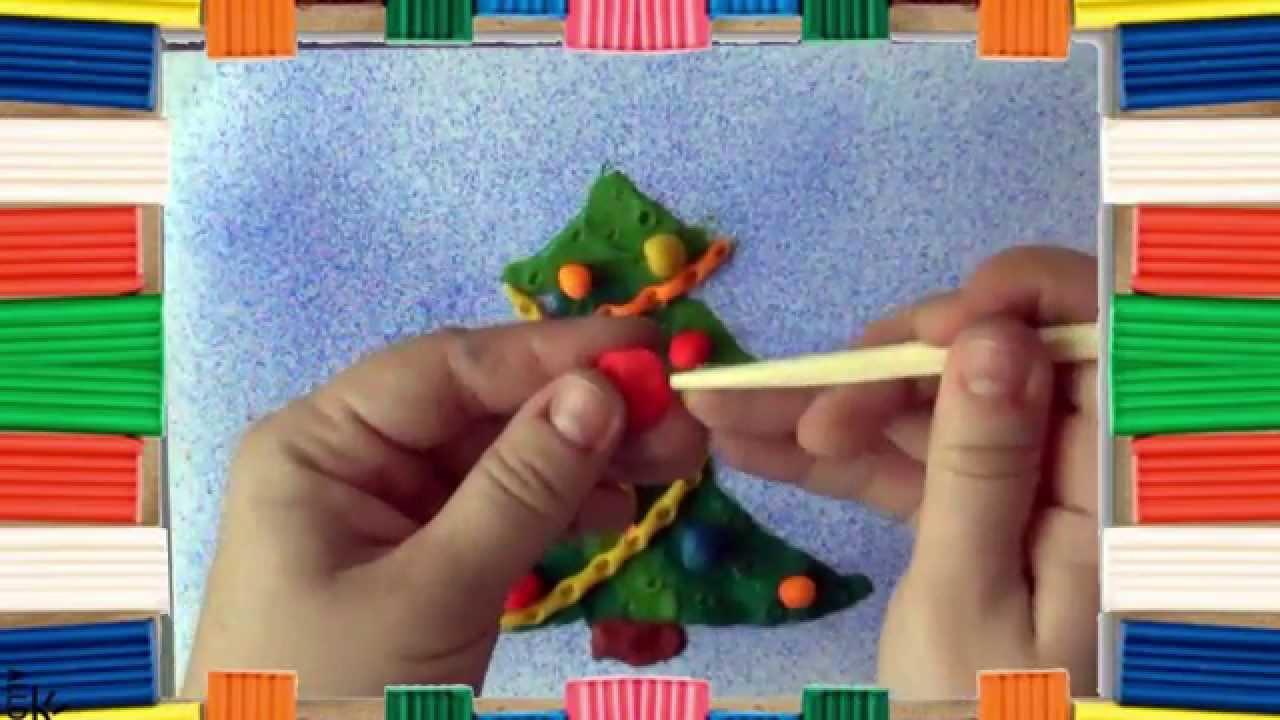 Новогодние картины из пластилина видео мастер класс