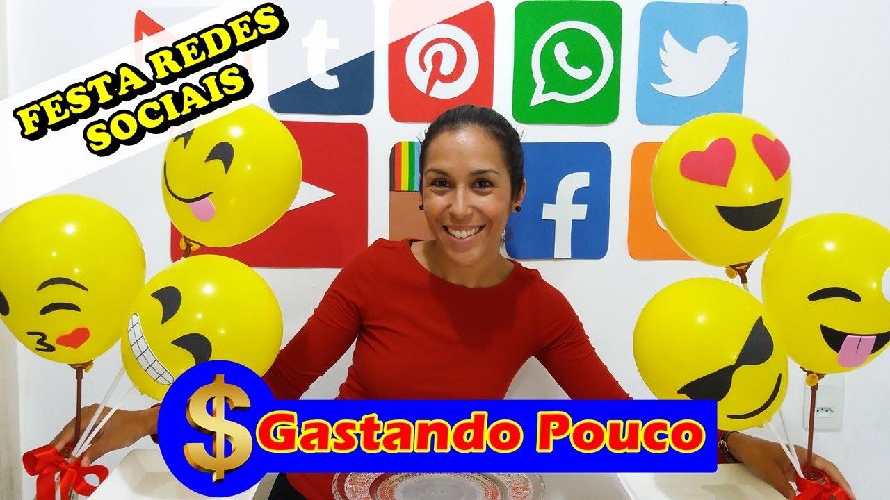 Decoraç u00e3o de Festa Gastando pouco até 50 REAIS REDES SOCIAIS YouTube # Decoracao De Festa Tema Emoji