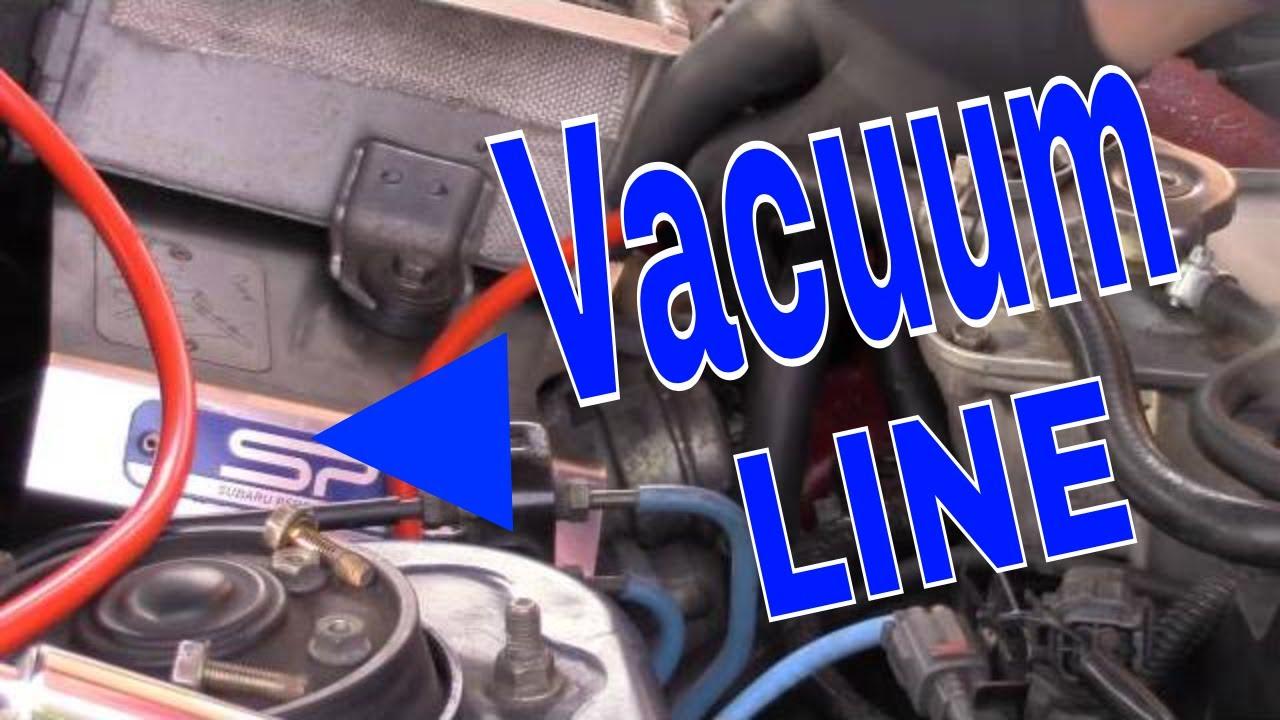 Subaru WRX STi engine bay Blue T vacuum boost lines EVAP