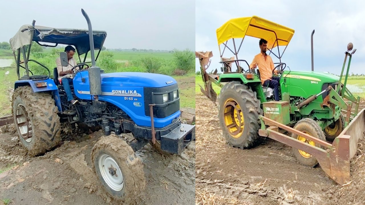 Sonalika 60 Rx after long Time Puddling wrok | John Deere Tractor with Front Dozer and 2MB Plough