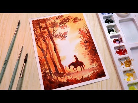Beautiful Watercolor painting tutorial of a girl riding horse scenery step by step in Hindi
