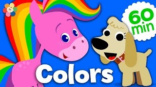 Coloring and Music for Kids | Rainbow Horse Color Compilation | Learn Colors for Kids | BabyFirst TV