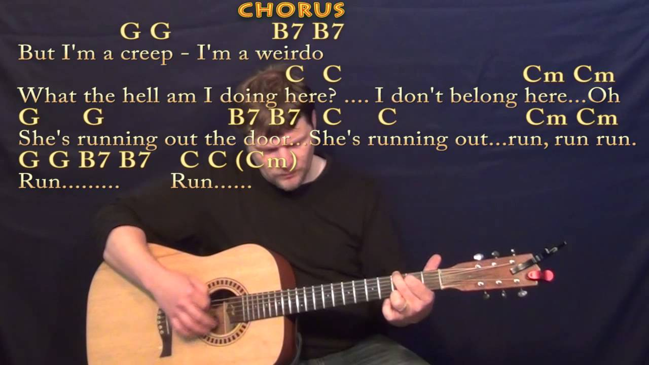 Creep Radiohead Strum Guitar Cover Lesson With Chordslyrics Youtube