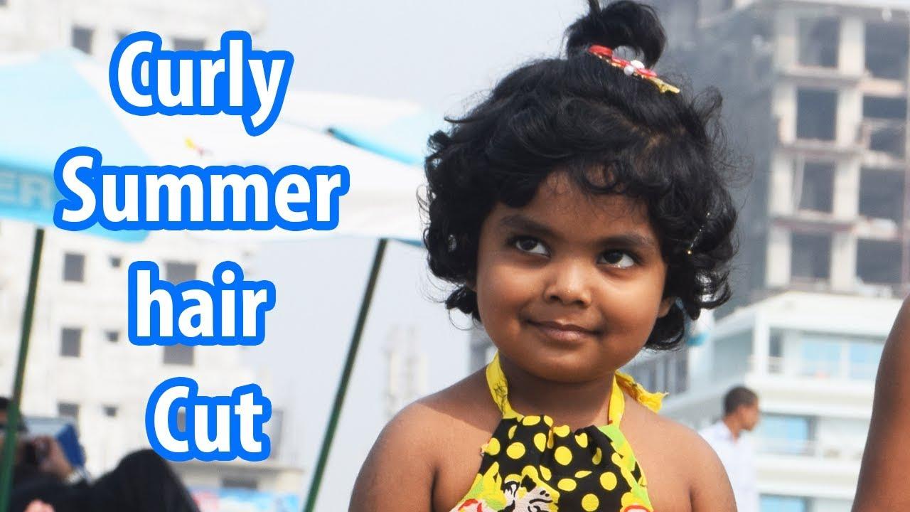 Curly Summer hair Cut/how to cut little girl curly hair   YouTube