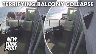 Terrifying moment packed balcony collapses in Malibu captured on video | New York Post