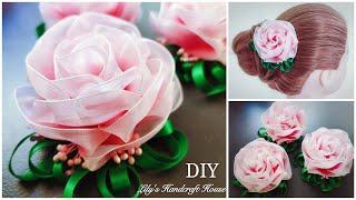 DIY handmade organza flower hairclip 🌺🌺/手工/MK/Flor de fita: Lily's Handcraft Hou