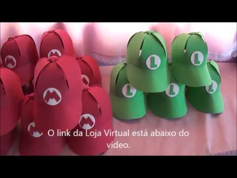 BONÉ MARIO BROS   LUIGI EM EVA - YouTube 7a9ff67d61a