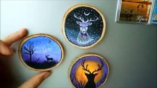 Расписной магнит из дерева СВОИМИ РУКАМИ. Fridge magnet painting on wood