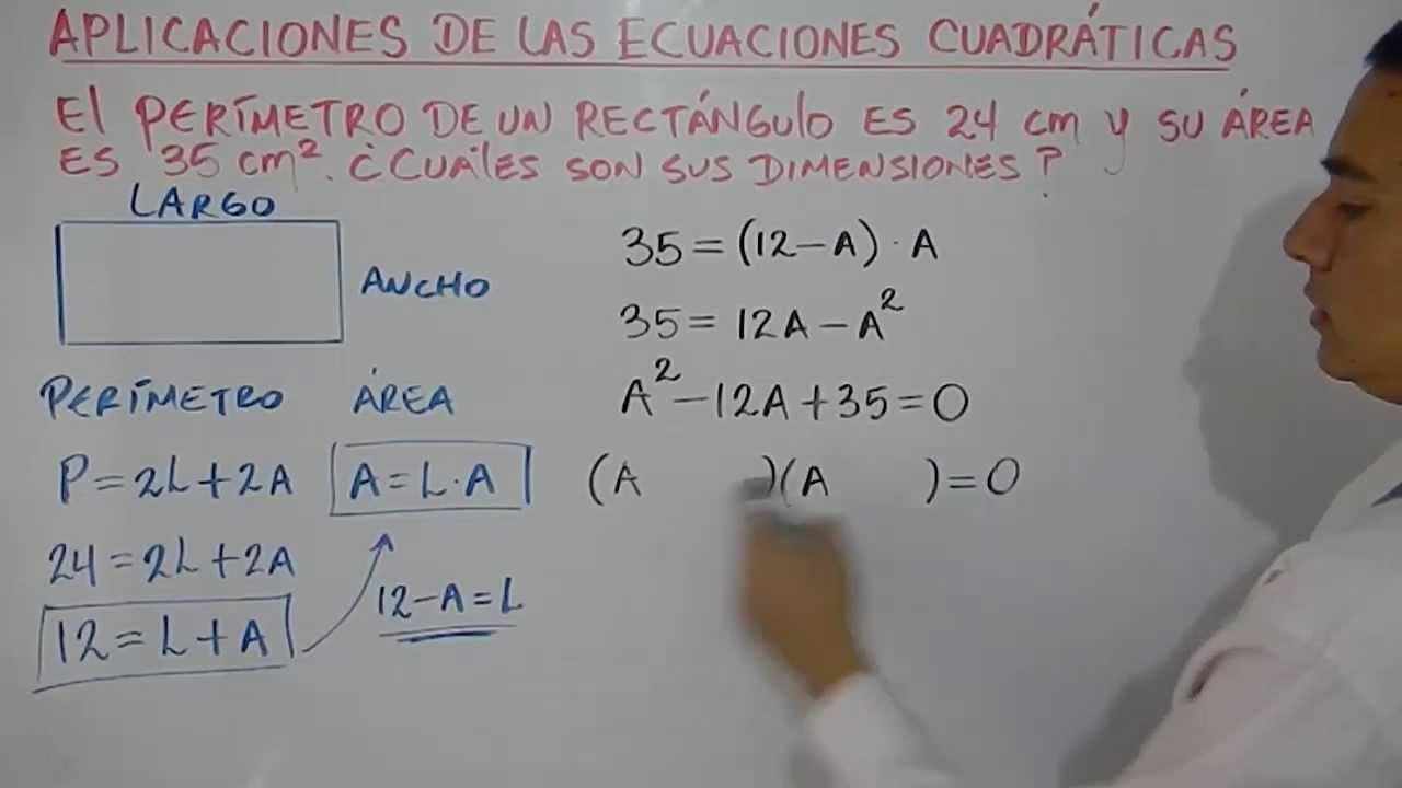 Problema resuelto con ecuaciones de segundo grado Ejemplo