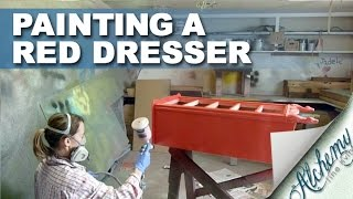 Painting And Distressing A Red Dresser