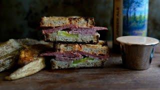 Grilled Corned Beef & Swiss On Rye Sandwich