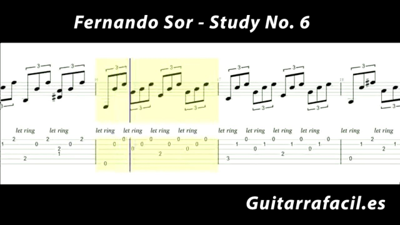 Fernando sor no 6 estudio para guitarra cl sica tab for Partituras guitarra clasica