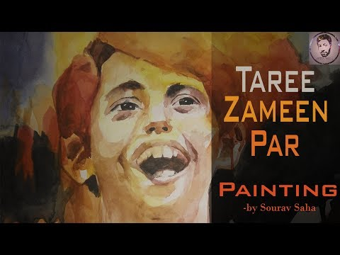 Ishan from Tare Zameen Par – Watercolour wash painting technique – by Sourav Saha.