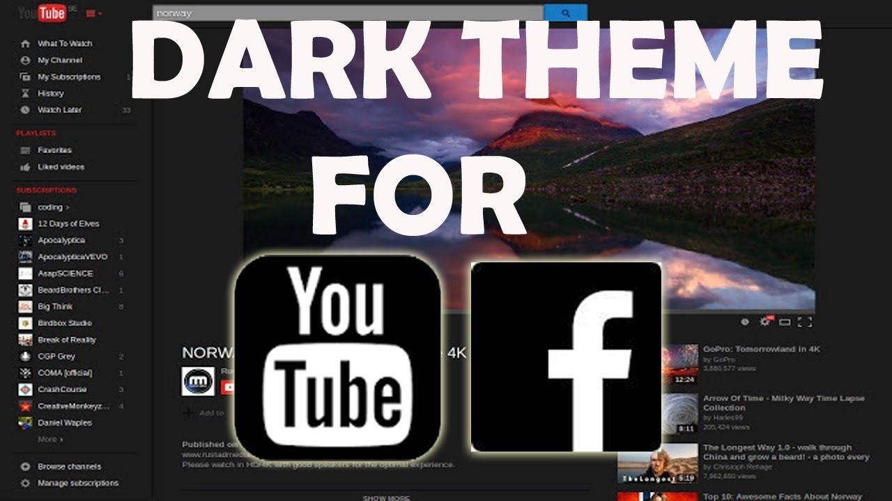 how to get youtube dark theme