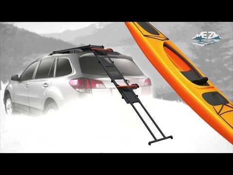 EZ Rec Rack pivots for easier kayak-loading