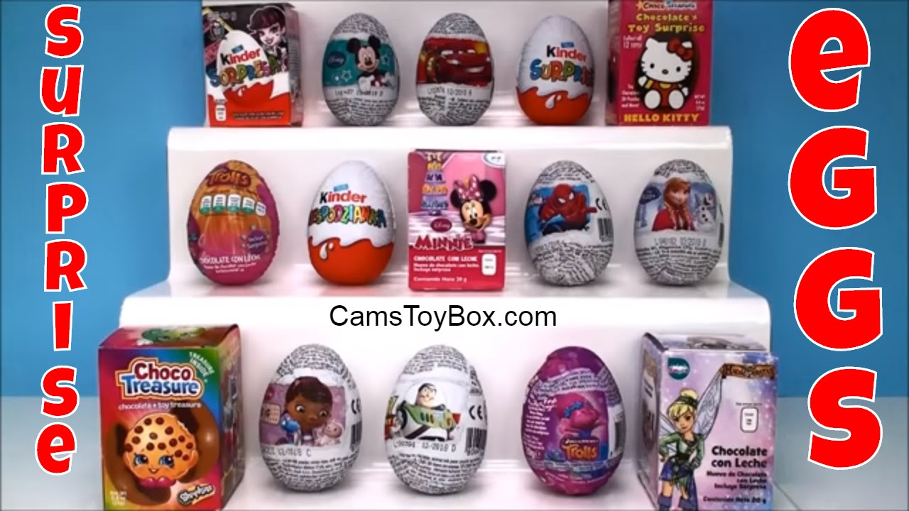Chocolate Surprise Eggs Kinder Monster High Shopkins Mickey Minnie