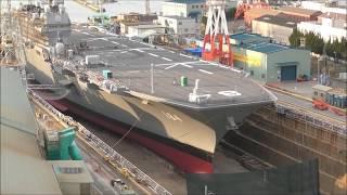 日本最大級護衛艦『かが』JMU呉工場入渠で見せる船体がかなり巨大!