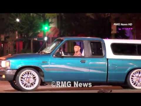 Suspected gang member leads officers on wild pursuit ending in gunfire in Los Angeles, California.