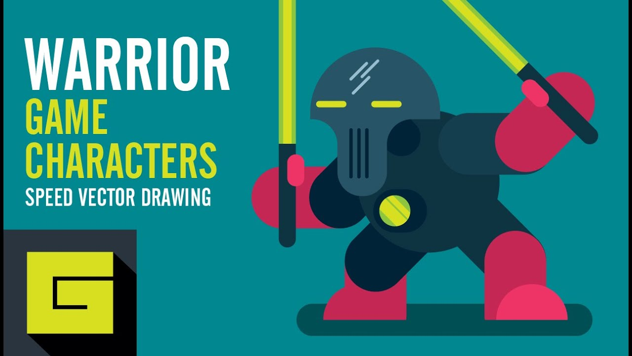 Vector Character Design Illustrator : Speed drawing how to draw game character space warrior