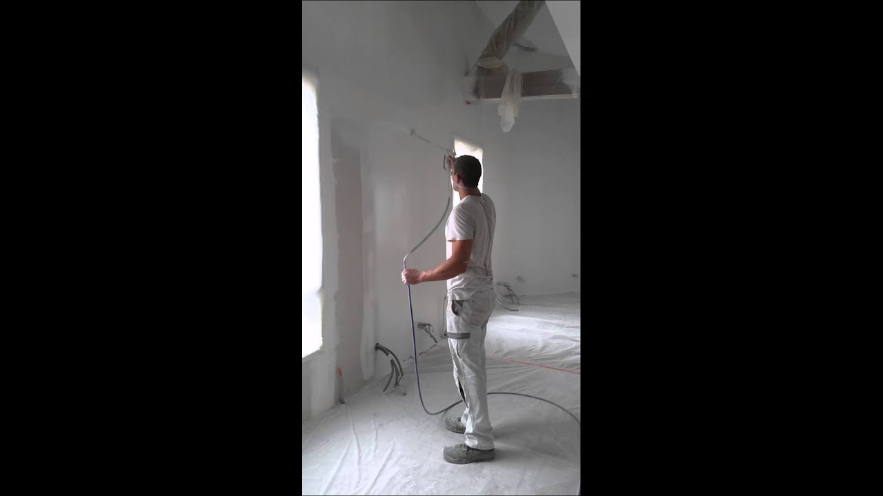 peinture airless maison neuve youtube. Black Bedroom Furniture Sets. Home Design Ideas
