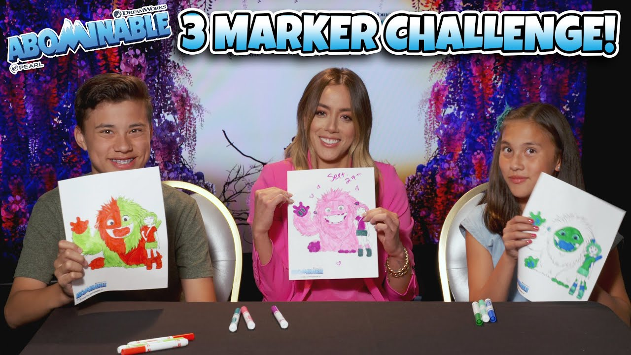 3 MARKER CHALLENGE! Evan and Jillian vs. Chloe Bennet and the Abominable Cast!!