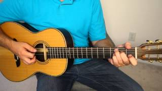 Easy acoustic blues rhythm - guitar lesson.  Very basic - BLG001