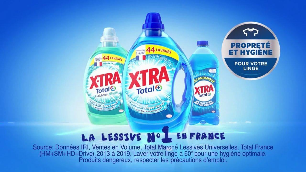 """X-Tra total + """"la lessive n°1 en France"""" Pub 15s"""