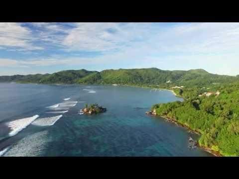 Aerial view of Anse Royale beach on Mahe Island, Seychelles (4k UHD).