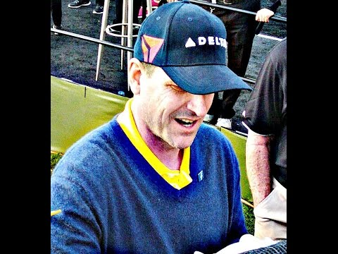 2/10/16 the GREAT WOLVERINE 49er JIM HARBAUGH @ AT&T PEBBLE BEACH PRO-AM 7th HOLE
