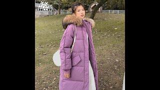 Женская парка с капюшоном greller длинная свободная куртка большим меховым воротником зима 2021